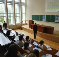 Выступление Дмитрия Аранчия - члена жюри конкурса STEEL FREEDOM 2015 перед студентами КНУСА